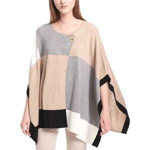 Calvin Klein   Colorblock Sweater Knit Poncho